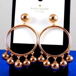NWT Rose Gold Bauble Ball Hoop Drop Earrings